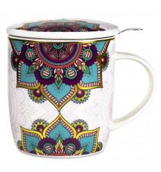 Mug avec infuseur à thé et couvercle en porcelaine - Mandala Turquoise