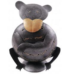 Supporto di candela di scimmia in ferro battuto 24cm