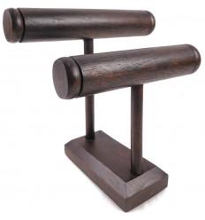 Mostra orologi e bracciali, portagioie in legno 2 anelli marroni