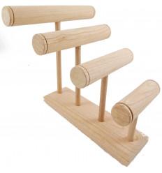 Grande espositore per bracciali/orologi 4 bacchette di legno grezzo