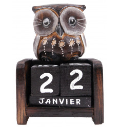 Perpetual calendar - Small figurine Owl wood