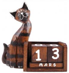 Calendrier perpétuel chat en bois français, déco chambre enfant.