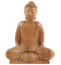 Statuetta di Buddha della meditazione in legno massello intagliato a mano h20cm