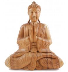 Grande statue Bouddha assis. Bois brut massif sculpté artisanalement.