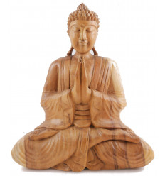 Large sitting Buddha statue wood plain carved solid hand h40cm