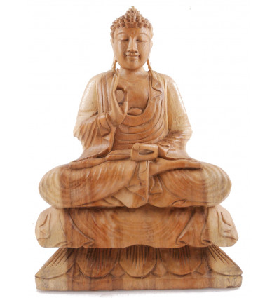 Statue of Buddha sitting on lotus h40cm - Wood-natural tint