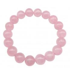 Bracelet Lithothérapie perles 10mm en Quartz rose - Paix et Amour