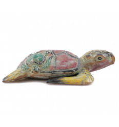 Tortue de mer colorée. Statue en bois, fabriquée artisanalement.