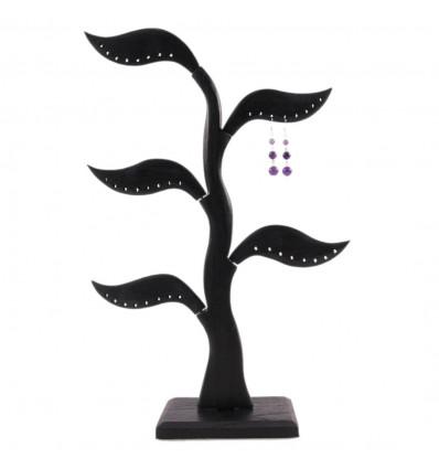 Arbre présentoir à boucles d'oreilles noir en bois massif