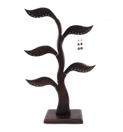 Albero di orecchini in legno massello tinta marrone