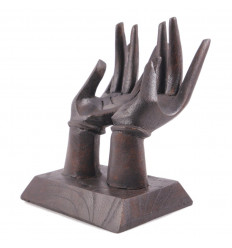 Hands door-rings / Display cards. Solid wood tint brown