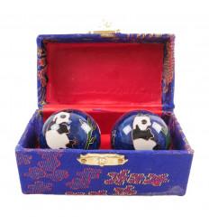 Boules de Qi Gong chinoises - Bien-être et santé au motif Panda 35mm