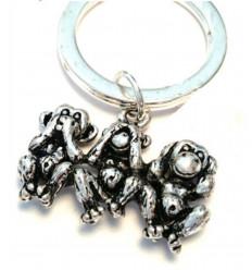 Porte clé 3 singles de la sagesse en métal, bijou de sac pas cher.