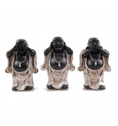 "Statuettes ""3 Buddhas of wisdom"" resin coated gloss black."