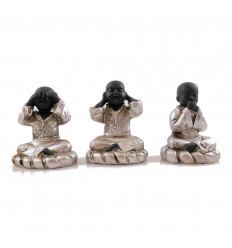 """Statuettes """"3 Buddhas of wisdom"""" resin coated gloss black."""