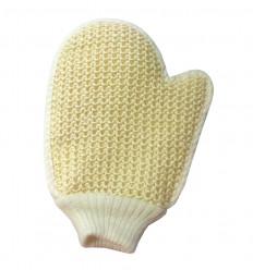 Gant de massage exfoliant en crin végétal et coton double face.