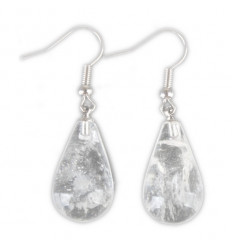 Shape earrings drop rock crystal, hook, silver plated.