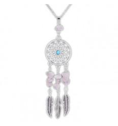 Collier Bohème avec pendentif attrape-rêves + perles en Quartz Rose. Livraison Gratuite !