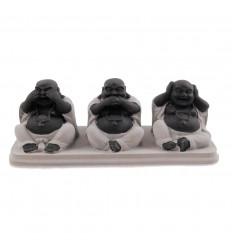 "Statuettes ""3 Buddhas chinese wisdom"" silver"