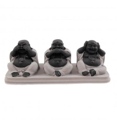 """Statuette di """"3 Buddha cinese sapienza"""" argento"""