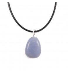 Collier Angélite naturelle Extra, pendentif pierres roulées + cordon
