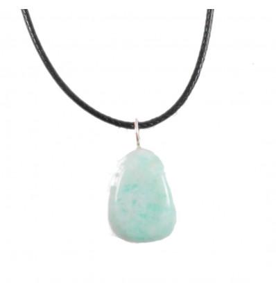 Collier Amazonite de Russie Extra, pendentif pierres roulées + cordon