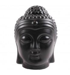 Brule parfum tete de Bouddha Zen en ceramique artisanale noir