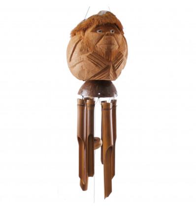 Carillon à vent en bambou et noix de coco. Farbrication artisanale.