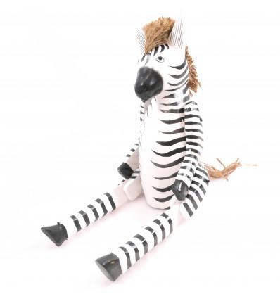 Pantin marionnette articulée Zèbre en bois. Fabrication artisanale.