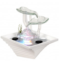 Fontana coperta di Fiori in vetro e ceramica, zen natura.