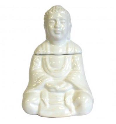 Brule-parfum diffuseur huile forme Bouddha ceramique ancienne blanc.