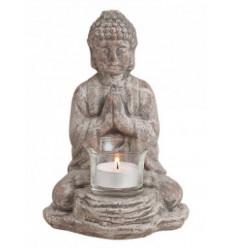 Supporto di candela statua di Buddha in ceramica grigia, Decorazione Zen.