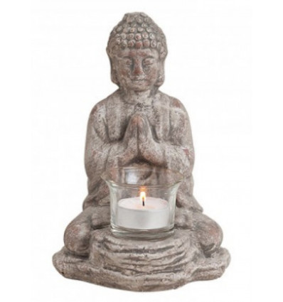 Bougeoir statue de Bouddha en céramique grise, Déco Zen.