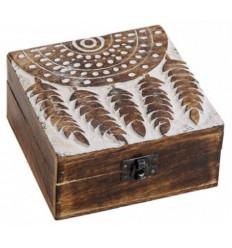 Boîte à bijoux en bois de manguier. Décor attrape-rêves