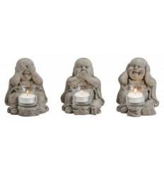 """Bougeoirs """"3 Bouddhas de la sagesse"""" en ciment gris"""