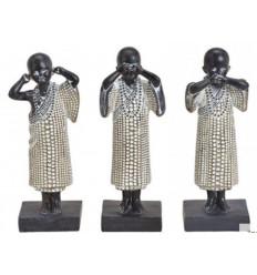 """Les 3 moines """"secret du bonheur"""". Statuettes en résine"""