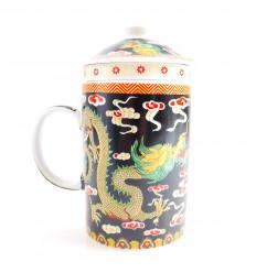 Tazza infusore da tè in porcellana modello del Drago Cinese. 3-in-1, in pratica