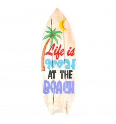 Grande enseigne 83cm forme Surf. Panneau déco murale en bois fabrication artisanale.