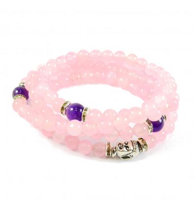 Mala tibétain 108 perles en quartz rose améthyste bracelet multitour.