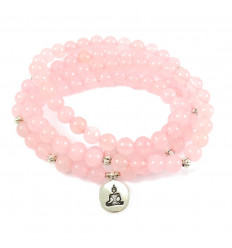 Bracelet Mala 108 beads rose quartz natural - symbol Buddha