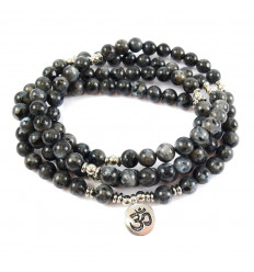 Mala 108 beads labradorite gray natural - symbol Ôm