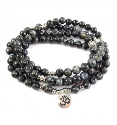 Mala 108 perles en labradorite grise naturelle - symbole Ôm