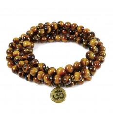 Bracelet mala 108 perles en oeil de tigre + symbole Ôm