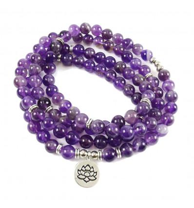 Bracelet Mala 108 beads Amethyst natural - Symbol, Lotus flower