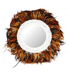 Grande specchio Juju cappello marrone, ø 60 cm. Piume e conchiglie. Artigianato