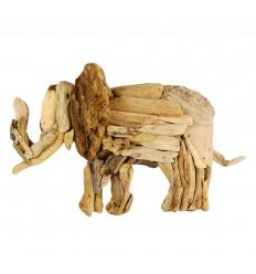Éléphant en bois flotté 60cm. Fabrication artisanale. Décor mural