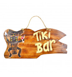 "Grande targa / cartello in legno ""Tiki Bar"" 50cm a mano."