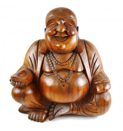 Statue Bouddha chinois en bois sculpté H30cm