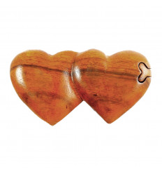 Boîte à Secrets double cœur en bois.