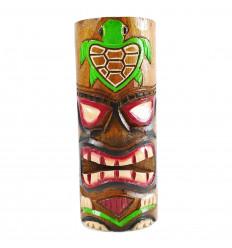Totem Tiki en bois artisanal. Modèle tortue 25cm. Trophée aventure.